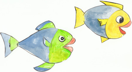 two colorful happy yellow and green fishes