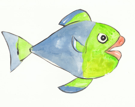 colorful fish: colorful fish with blue and green color is happy