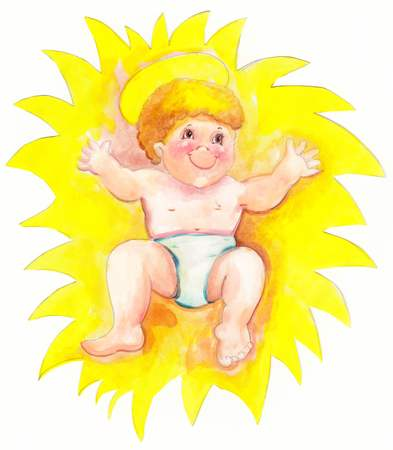 yellow star: watercolor jesus birth in a yellow star