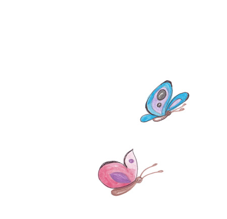 watercolor painted butterflies in red and blue