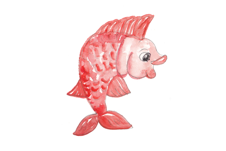placeholder: watercolor red smiling fish for placeholder or other