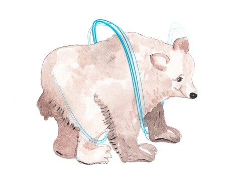 light trails: watercolor white and colorfulBear with light trails Stock Photo