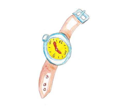 watercolor placeholder hand made colorfull clock