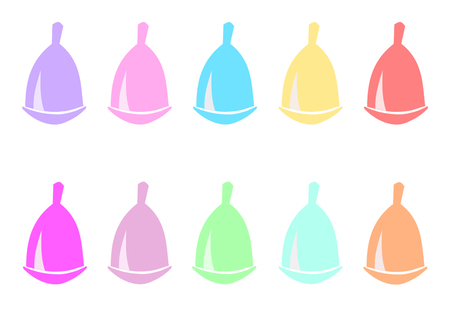 menstrual: different colors of menstrual cups
