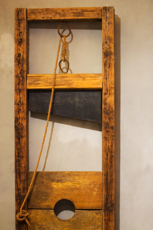 beheading: wood guillotine in shop in Prague