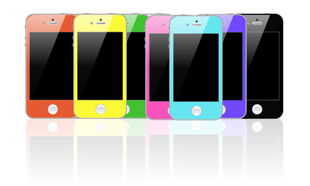 set of colored smartphones