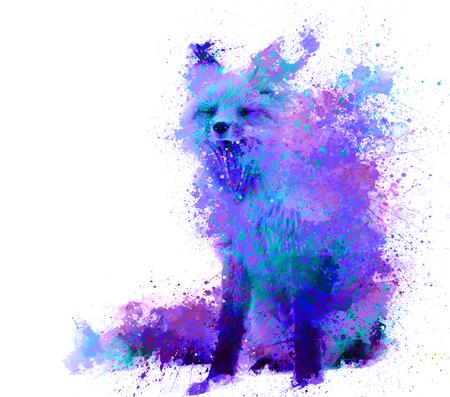 fox splash in purple and blue color Stock Photo