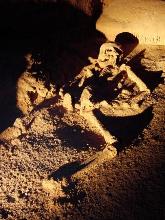Skeleton inside ATM cave of Belize.               Stock Photo