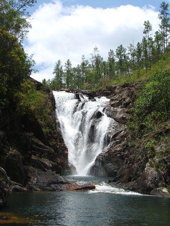 pine creek: Big Rock waterfall in Belize.                                Stock Photo