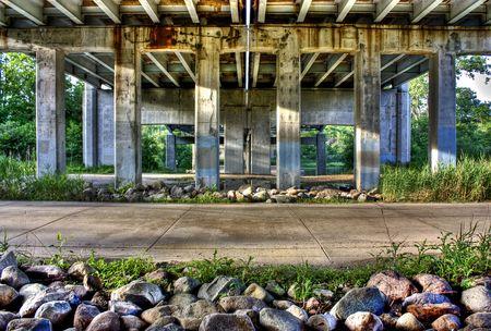 The underpass of US-23 highway bridge in Michigan.