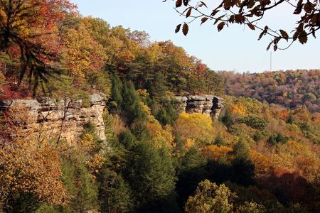 Fall colors on the cliffs of Hocking Hills, Ohio.