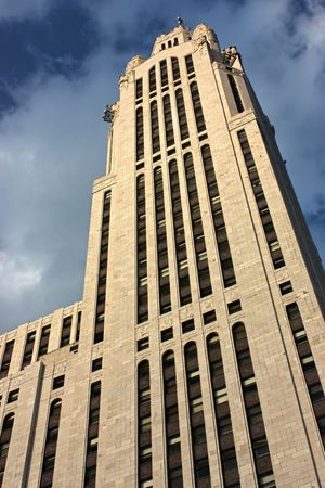 Looking up the Leveque Tower in downtown Columbus, Ohio.
