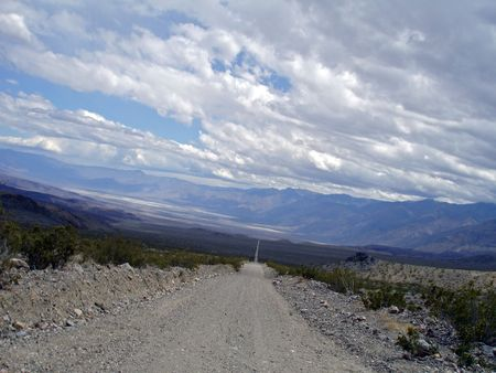 Dirt road leading into Saline Valley, in Death Valley.