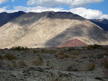 Shadows fall on the hills of Death Valley.          Stock Photo