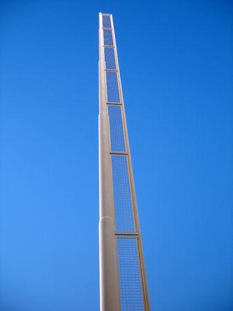 A baseball foul pole reaching towards the sky. Stock Photo