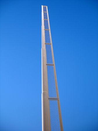 foul: A baseball foul pole reaching towards the sky. Stock Photo