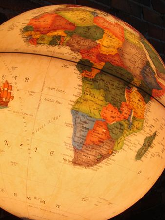 Globe light showing Africa.