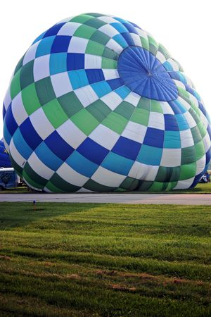 Hot air balloon on the ground.