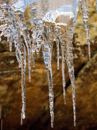 Icicles dripping in the winter time        Stock Photo