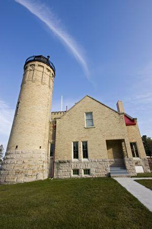 Old Mackinac Point Lighthouse in Mackinac City, Michigan. Stock Photo