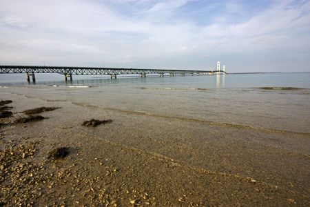 The Mackinac Bridge stretching over the Great Lakes in Michigan. Stock Photo
