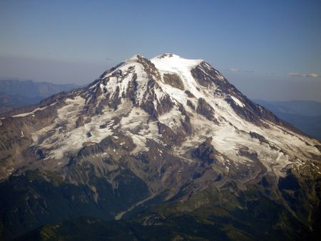 View of a mountain in the pacific northwest from a plane.