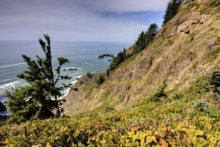 ruggedness: The ruggedness of Oregons coast meets the Pacific Ocean.