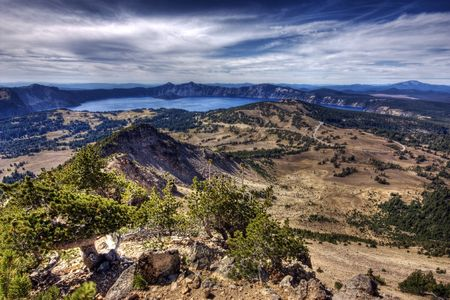 crater lake: The landscape of the Crater Lake, Oregon area