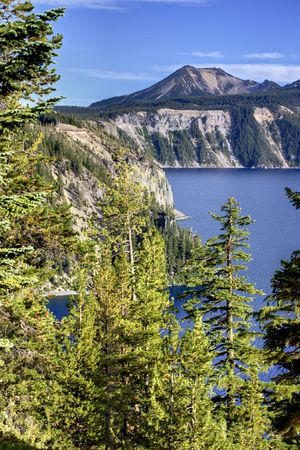 crater lake: Overlooking Crater Lake from a hiking trail in Oregon