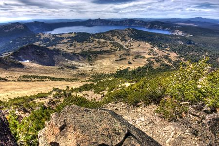 crater lake: A view of the Crater Lake landscape in Oregon. Stock Photo