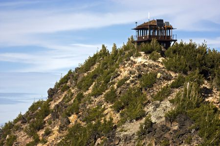 Fire Tower on Mt. Scott at Crater Lake, Oregon.