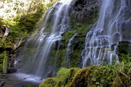 proxy falls: Side view of Lower Proxy Falls in Oregon Stock Photo