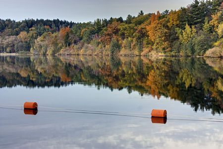 buoys: Orange buoys match the fall colors of the trees on the Huron River