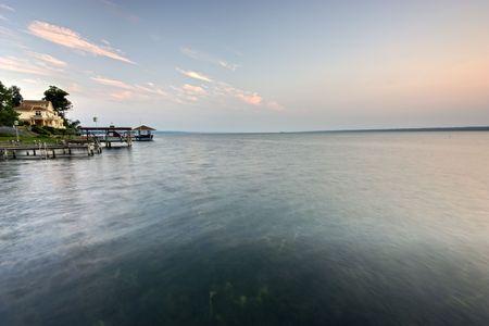 seneca: Cottages and their docks along beautiful Seneca Lake in New York