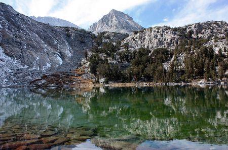 Beautiful mountain reflections in Gem Lake, in the Sierra Nevada mountain range of California