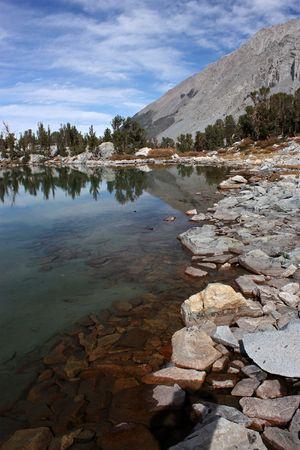 Shoreline of beautiful Gem Lake in the Sierra Nevada mountain range of California Stock Photo