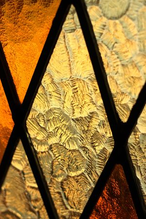Close up of a stained glass window photo