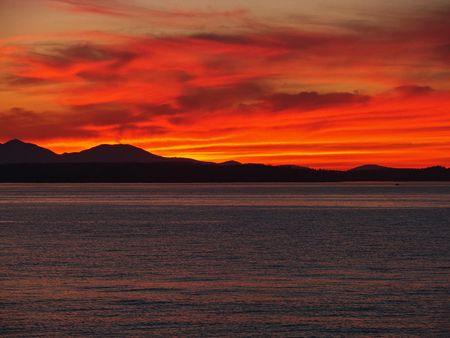 puget: Sunset over Elliott Bay on the Puget Sound in Seattle, Washington Stock Photo