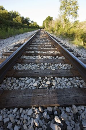 View down a set of train tracks Stock Photo