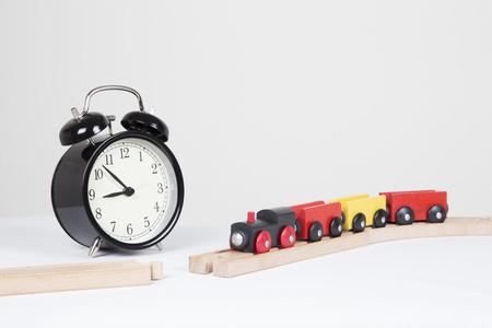 delays: Wooden train on broken train track, delays expected Stock Photo