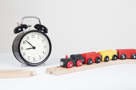 delays: Wooden toy train on broken track, delays concept Stock Photo