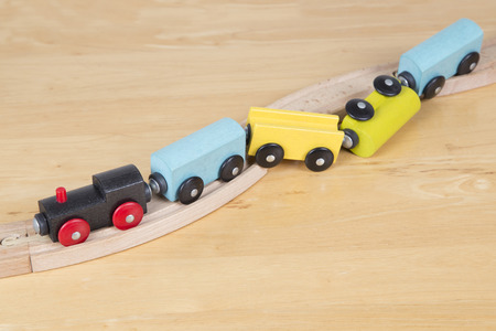 Derailed toy train - Conceptual image failure and frustration