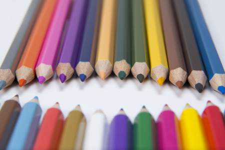 facing each other: Colored penciled facing each other Stock Photo
