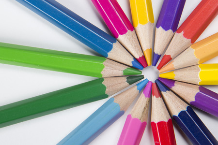 circle shape: colored pencils in a circle shape Stock Photo