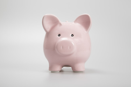 facing on camera: Pink piggy bank facing camera on white background