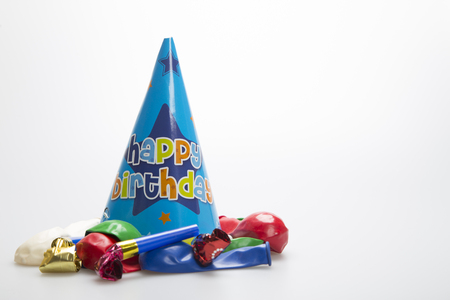 blowers: Blue party hat with balloons and party blowers