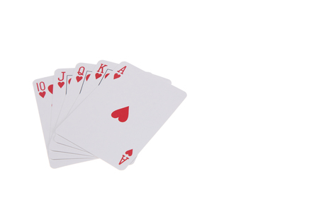 royal flush: Royal flush poker hand on a white backgroound Stock Photo