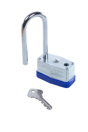 Isolated strong steel padlock with a long shank standing open with a key on white in a safety and security concept