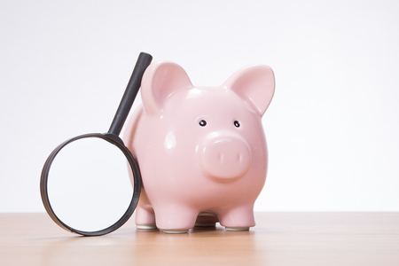 Magnifying glass leaning against a small pink piggy bank in a conceptual image of analysis and research on investments and savings