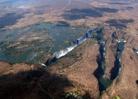 nile source: Aerial View of Victoria Falls